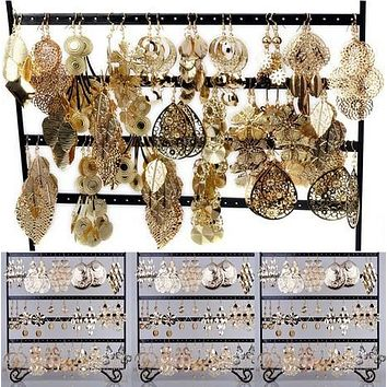 Bulk Gold Tone Fashion Earring Jewelry Sets (12 Pairs)