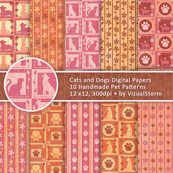 Cat and Dog Digital Paper Pattern Printable Pet Scrapbooking Paper Pack Paw Prints Cats Dogs Flowers Checkered Pet Paper Whimsical Designs