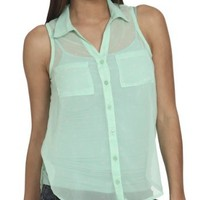 Wet Seal Women's Sleeveless Polka Dot Shirt