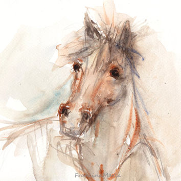 Horse watercolor painting, Animal art, Original watercolor painting art, Proud thoroughbred horse.