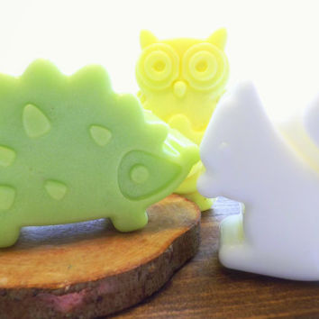 Woodland Animal Soaps; 75 BULK Favors for Baby Shower or 1st Birthdays; Natural Glycerin, Personalized Custom Labels, Soap Packaging