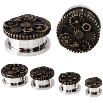 2PCS Steampunk Wheel Design Srew Fit Steel Ear Plugs and Tunnels Piercings Ear Stretchers Gauges Expander Body Jewelry Piercings