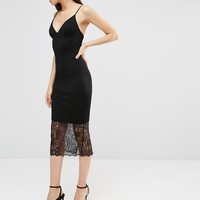 Missguided Tall Lace Hem Midi Dress