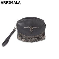 ARPIMALA Fringe Vintage Clutch Women Leather Handbags Designer Boho Hand Bag Small Tassel Stud Women Messenger Bag Luxury Purses