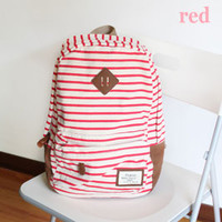 Simple Striped Canvas Backpack-red