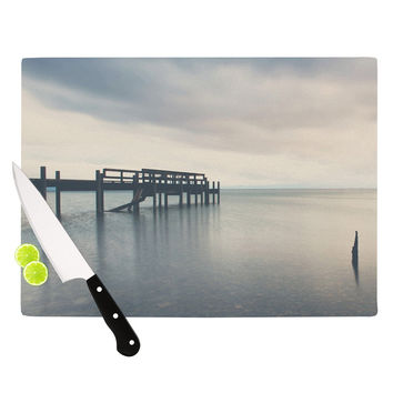 "Laura Evans ""Waiting for the Storm to Pass"" Gray Blue Cutting Board"