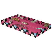 Home Office Collection – 8 Section Felt Covered Polka Dot Jewelry Organizer Tray – Drawer Organizer – Jewelry Tray