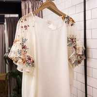 Floral Embroidered Sleeve Top, Natural