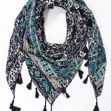 Poppy Garden Square Tasseled Global Print Scarf