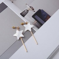 Loli - Gold plated star shaped mother of pearl dangle earrings