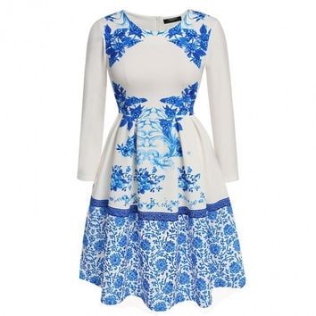 Fashion Women's Long Sleeve Print Fit And Flare Pleated Party Cocktail Dress