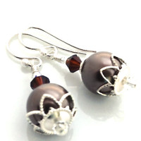 Brown Pearl Earrings, Drop Pearl, Dangle, Faux, Vegan