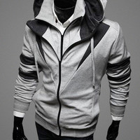 Block Stripe Drawstring Hoodie Zipper Sweatshirt