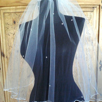 Waist Length Wedding Veil Rolled Edge with Scattered Crystals Two Tier Bridal Veil Double Layer White or Ivory 30 inches