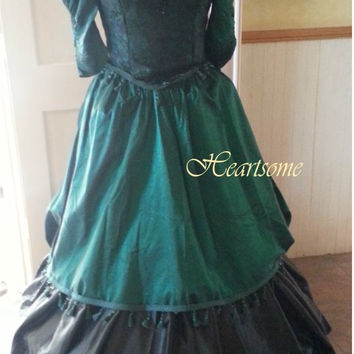 Victorian Halloween costume plus sz dress gown 6 pc masquerade civil war hair comb fan production
