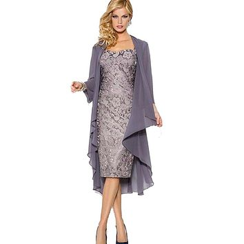 Elegant Mother of the Bride Lace Dresses Plus Size With Shawl Short Formal Evening Dresses for Party Wedding