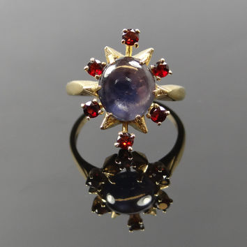 Beautiful Starburst Vintage Garnet and Star Sapphire Ring - RGSA199P
