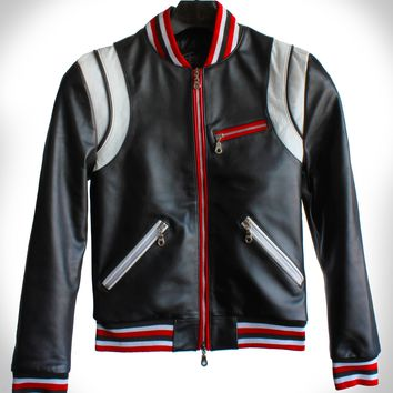 "Red, White, and Black Striped ""Made to Measure"" Lambskin Varsity Leather Teddy Jacket"