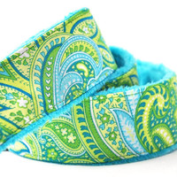 dSLR Camera Strap - Pretty Paisley with Teal Minky