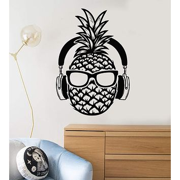 Vinyl Wall Decal Pineapple Headphones Music Art Teen Room Stickers Mural Unique Gift (ig4994)