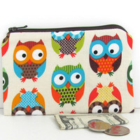 Owls Coin Purse / Kid's Zipper Pouch  small by OvationStudio