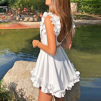 Naya White Ruffled Dress