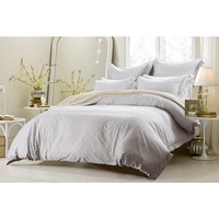 6PC WHITE GREY DESIGN BEDDING SET-INCLUDES COMFORTER AND DUVET COVER - STYLE # 1029 C-CHERRY HILL COLLECTION
