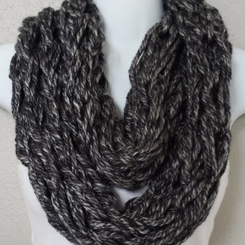 Grey Layered Knitted Infinity Scarf Arm Knitted Womens Scarf Girls Fall Fashion Scarves Knitting Scarf