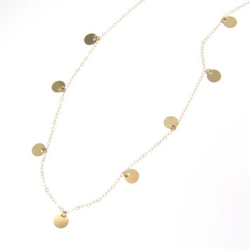 14K Gold Small Discs Necklace - Floating Dots - Simple And Dainty, 16