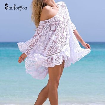 2018 Summer Lace Cover up Tunic for Beach Swim suit Women Wwimwear Bathing suit Cover ups Kaftan Swimsuit Cover up Pareo Beach