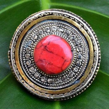 Antique Red Jasper Ring,Kuchi Tribal Ring,Afghan Ring,Kuchi Jewelry,Festival,Hippie,Bohemian,Ethnic Carved Ring,Gilt Silver,Boho Gypsy Ring