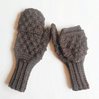 Convertible Crochet Glittens in Mink Brown Wool Blend , Fingerless Glove Mittens, ready to ship.