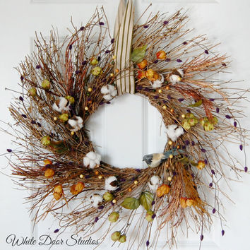 Fall Twig Wreath, Front Door Wreath, Wildflower Cotton Boll and Bird Wreath, Rustic Farmhouse Wreath, Thanksgiving Wreath