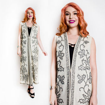 Vintage 1960s Long Duster Jacket Vest - Silver Lame Embellished Ethnic Hippie Boho - Small