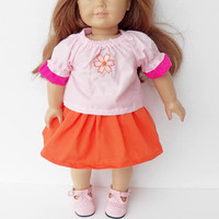"""FREE SHIPPING with another purchase, 15"""" doll clothes, flower skirt doll or 18 inch doll, pink peasant blouse orange, adorabledolldesigns"""