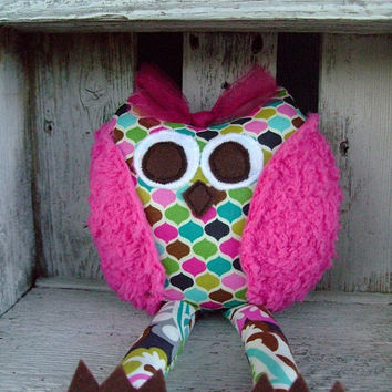 Whimsical Owl Stuffed Owl Toy Plush Animal by OurPlaceToNest