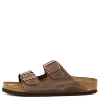 Birkenstock for Women: Narrow Arizona Waxy Leather Soft Footbed Habana Sandals