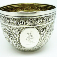 Solid Silver Sugar Bowl, Sterling, Antique, Crested, Victorian, English, Hallmarked London, 1879, REF:248H