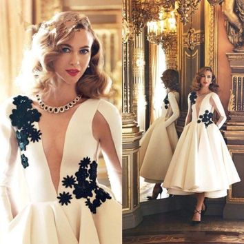 2016 New Long Sleeves Illusion Satin A-line Cocktail Dresses ivory Tea Length Applique Lace Beaded Party Formal cocktail Dress