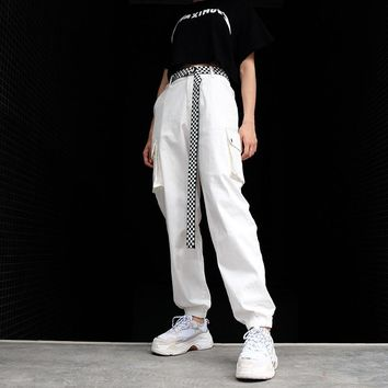 Women Solid Color Fashion Multi-pocket Cargo Pants High Waist Leisure Pants Trousers