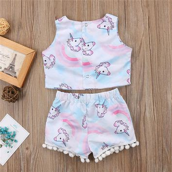Summer Children Clothing Fashion Kids Girl Sleeveless T-shirt Crop Tops Tassel Shorts Pants Baby Girl Clothes Set