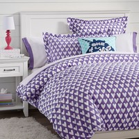 Sweethearts Flannel Duvet Cover + Sham, Purple