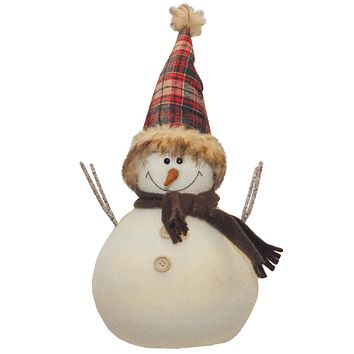 "10.75"" Snowman with Red and Black Plaid Hat Christmas Tabletop Decoration"