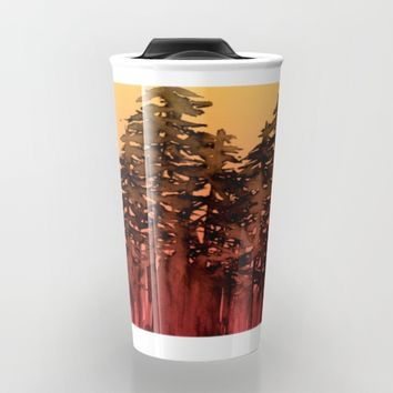 FOREST THROUGH THE TREES 12 Hot Pink Magenta Orange Black Landscape Ombre Abstract Painting Outdoors Travel Mug by EbiEmporium