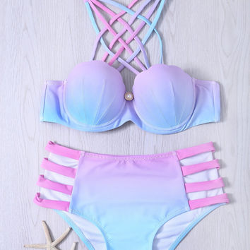 Alluring Cut Out Lace-Up Gradient Bikini Set
