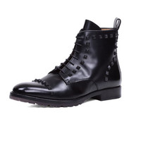 Valentino Rockstud Lace-Up Boot, Black