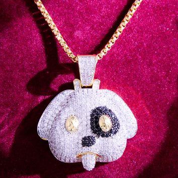 New Iced Out Puppy Face With Dollar Eyes Rapper Pendant