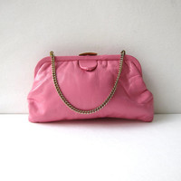Vintage bubblegum pink leather purse. small chain strap purse. leather clutch. modern.