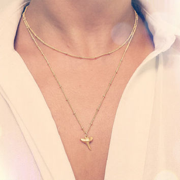 Layer Necklace Set / Layering Necklace Set / Satellite Shark Tooth Necklace
