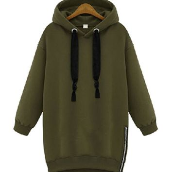 ca qiyif Loose Drawstring Medium Long Hoodie